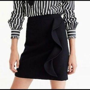 J Crew black wool ruffled skirt - NWT